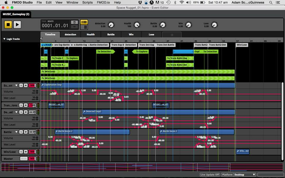 Screenshot of the FMOD session used to create the dynamic music system.